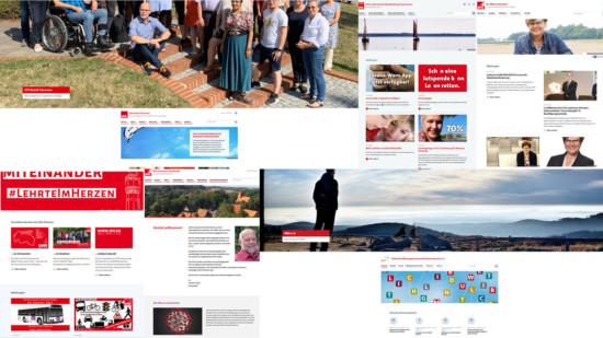 Collage von Startseiten